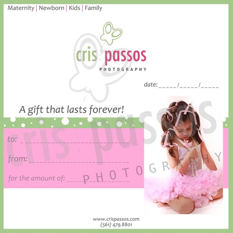 Boca Raton Photographer Cris Passos Photography Gift Certificates